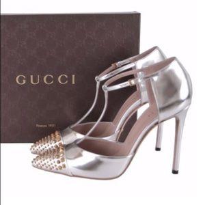 1ddf006c51b Gucci Shoes - GUCCI SILVER ARGENTO T-STRAP PUMPS